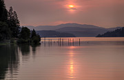 Smoky Skies Prints - Pink on the Bay Print by Idaho Scenic Images Linda Lantzy