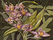 Orchids Tapestries - Textiles - Pink Orchids by Artimis Alcyone