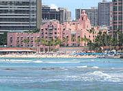 Mary Deal Prints - Pink Palace on Waikiki Beach Print by Mary Deal