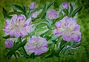 Formal Flower Paintings - Pink Peonies by Eloise Schneider