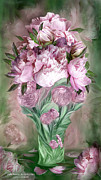 Bouquet Mixed Media Posters - Pink Peonies In Peony Vase Poster by Carol Cavalaris
