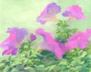 K Joann Russell - Pink Petunias Beautiful Flowers Art Colorful Original Garden Floral Flower Artist K. Joann Russell