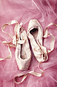 Pointe Shoes Posters - Pink Pirouette Poster by Amy Weiss