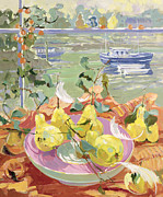 Boats In Water Painting Posters - Pink Plate of Pears Poster by Elizabeth Jane Lloyd