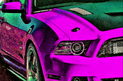 Ford Mustang Mixed Media Framed Prints - Pink Please find a cure Framed Print by Michael Knight