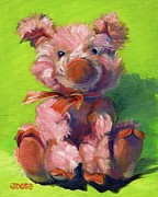 Porcine Animal Framed Prints - Pink Poink the Piglet Framed Print by Joose Hadley