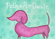 Dachshund  Art Mixed Media - Pink Polk-A-Doxie by Rischa Heape