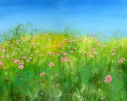 Impressionistic  On Canvas Paintings - Pink Poppies by Cecilia  Brendel