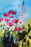Country Cottage Mixed Media Prints - Pink Poppies Hollyhock and Bees Print by Ginette Callaway