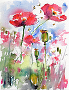 Bees Paintings - Pink Poppies Pods and Bees Watercolor by Ginette by Ginette Callaway