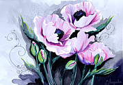 Watercolor Mixed Media Prints - Pink Poppiesss Print by Slaveika Aladjova