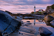 Maine Lighthouses Photo Posters - Pink Portland Poster by Emily Stauring