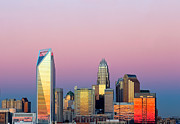Charlotte Prints - Pink purple sky over Charlotte skyline Print by Patrick Schneider