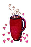 Glitter Paintings - Pink Red Coffee Cup Mug With Hearts Whimsical Art by ROMI by Romi Neilson