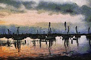 Sail Boats Posters - Pink Reflections Monterey Bay Poster by Barbara Snyder