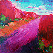 Becky Kim Artist Painting Metal Prints - Pink Road 1 Metal Print by Becky Kim