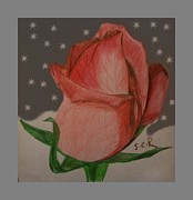Virtues Posters - Pink Rose 2 Painting By Saribelle Rodriguez Poster by Saribelle Rodriguez