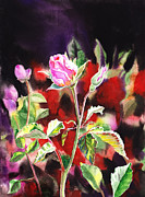 Birthday Cards Painting Originals - Pink Rose Bloom by Irina Sztukowski