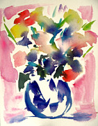 Pink Roses In A Blue Vase Print by  Tolere