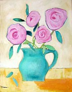 Old Pitcher Painting Originals - Pink Roses In A Green Vase by Venus