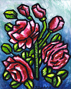 Oil Paints Posters - Pink Roses Poster by Kamil Swiatek