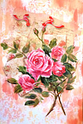 Featured Mixed Media Originals - Pink roses on vintage letters by Patricia Rachidi