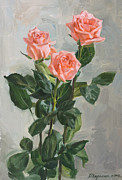 Floral Originals - Pink roses by Victoria Kharchenko