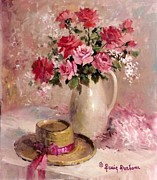 Dessie Durham Art - Pink Roses with Hat by Dessie Durham