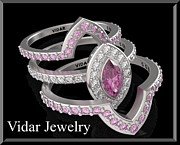 14k Jewelry - Pink Sapphire And Diamond 14k Wedding Ring And Engagement Ring Set by Roi Avidar