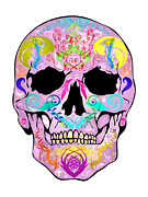 Scull Posters Framed Prints - Pink Scull Framed Print by Mauro Celotti