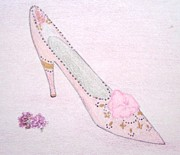 Fashion Illustration Pastels Posters - Pink Shoe Poster by Christine Corretti