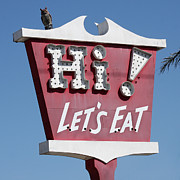 Billboard Signs Prints - Pink Sign - Lets Eat Print by Art Block Collections
