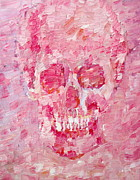 Image Painting Originals - Pink Skull Oil Painting by Fabrizio Cassetta