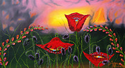 James Dunbar - Pink Sky Red Poppies