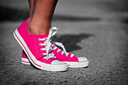 Shoelace Framed Prints - Pink sneakers  Framed Print by Michal Bednarek