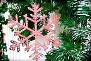 Pink Snowflake Print by Audreen Gieger-Hawkins