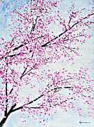 Cherry Blossoms Painting Prints - Pink Spring Print by Kume Bryant