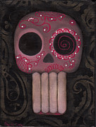Dark Art Painting Prints - Pink Sugar Skull Print by  Abril Andrade Griffith