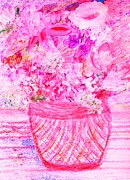 Vase Of Flowers Mixed Media Posters - Pink Sunday Afternoon Poster by Anne-Elizabeth Whiteway