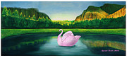 Yosemite Mixed Media Posters - Pink Swan in Yosemite Poster by Afsaneh Faridi