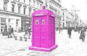 Tardis Metal Prints - Pink Tardis  Metal Print by Rob Hawkins