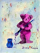 Cuddly Prints - Pink Teddy the Artist Print by Janis  Tafoya