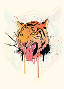 Mammals Digital Art Prints - Pink Tiger  Print by Mark Ashkenazi