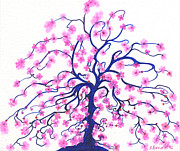 Sakura Drawings - Pink Tree Flowers by Nina Kuriloff