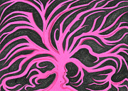 Fantasy Tree Art Drawings Prints - Pink Tree with Black Background Print by Nina Kuriloff