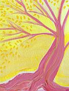 Jrr Paintings - Pink Tree With Leaves by jrr by First Star Art
