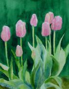 K Joann Russell - Pink Tulips Colorful Flowers Garden Art Original Watercolor Painting Artist K. Joann Russell