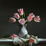 Larry Preston - PINK TULIPS IN A CHOCOLATE POT