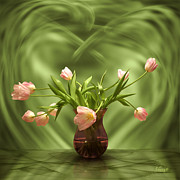 Hildingsson Prints - Pink tulips in green room Print by Johnny Hildingsson