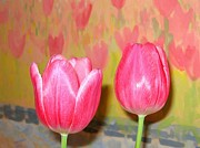 Decor.pink.green Flowers Posters - Pink Tulips Poster by Will Borden